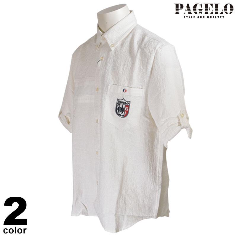 PAGELO パジェロ 七分 カジュアルシャツ メンズ 2020春夏 麻 ボタンダウン 04-2404-07
