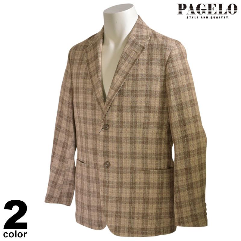 パジェロ PAGELO 長袖 テーラードジャケット メンズ 2020春夏 チェック柄 花柄 04-4122-07c