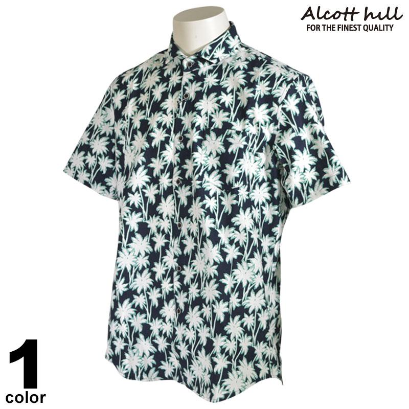 ALCOTT HILL アルコットヒル 半袖 カジュアルシャツ メンズ 2020春夏 ヤシの木 麻 リネン ロゴ 01-2006-10