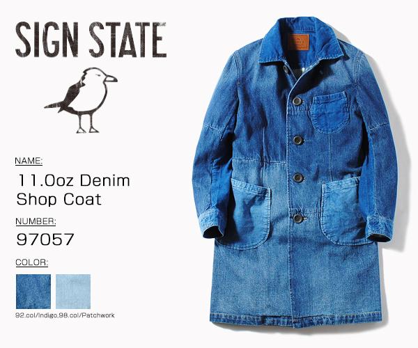 SIGN STATE サインステイト 11.0oz Denim Shop Coat パッチワークデニム デニムコート ショップコート 送料無料
