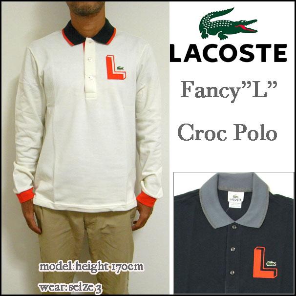 """LACOSTE/ lacoste / polo shirt / men / long sleeves /PH1059/Mens Semi Fancy """"L"""" Croc Pique Polo/ applique polo / tricolor / biz polo"""