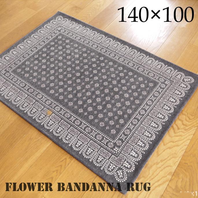 flower bandanna rug(フラワーバンダナ ラグ) 140×100cm 2715M 送料無料