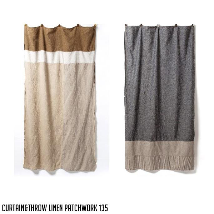 【国際ブランド】 Curtain&Throw Linen Patchwork・Cotton/Linen Indigo Patchwork 135(カーテン&スロウリネンパッチワーク・リネンインディゴパッチワーク135)Basshu(バッシュ)全2タイプ(LI/INDIGO), シッポウチョウ d38686ca