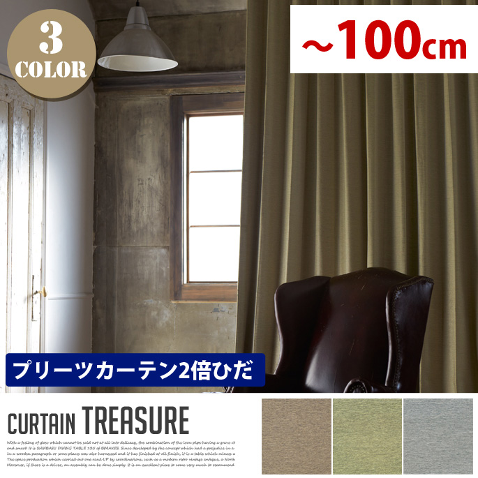 Treasure(トレジャー) プリーツカーテン【2倍ひだ】 エレガントスタイル (幅:-100cm)全3色(ベージュ、グリーン、グレー)送料無料