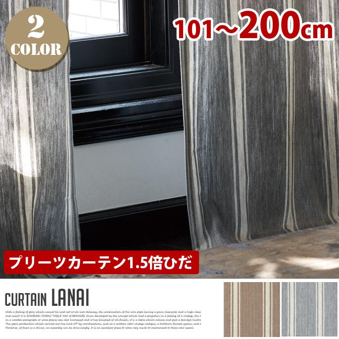 Lanai(ラナイ) プリーツカーテン【1.5倍ひだ】 (幅:101-200cm)送料無料 カラー(ブラウン・グレー)全2色