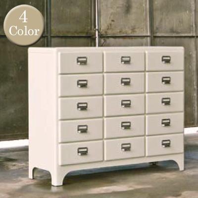 レトロ感漂うオシャレチェスト♪ 3 columns by 5 drawers 100-165 チェスト DULTON'S(ダルトン) 全4色(Ivory/Red/Brown/HammertoneGray) 送料無料