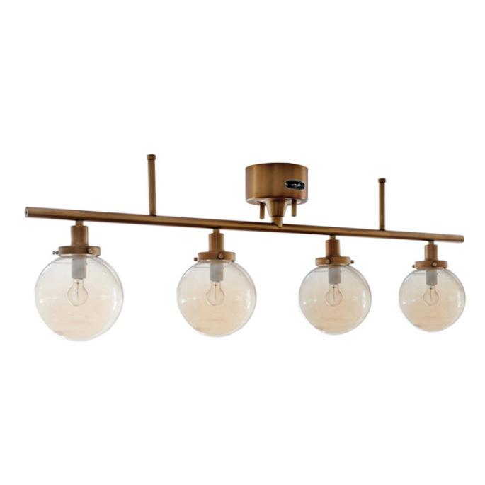 レトロ感あるアンティーク調のゴールドフレームとアンバーガラスのバランスが絶妙な雰囲気を醸し出す♪ MOON4 LAMP(ムーン4ランプ) GS-013IRNGD リモコン付 ハモサ(HERMOSA) 送料無料