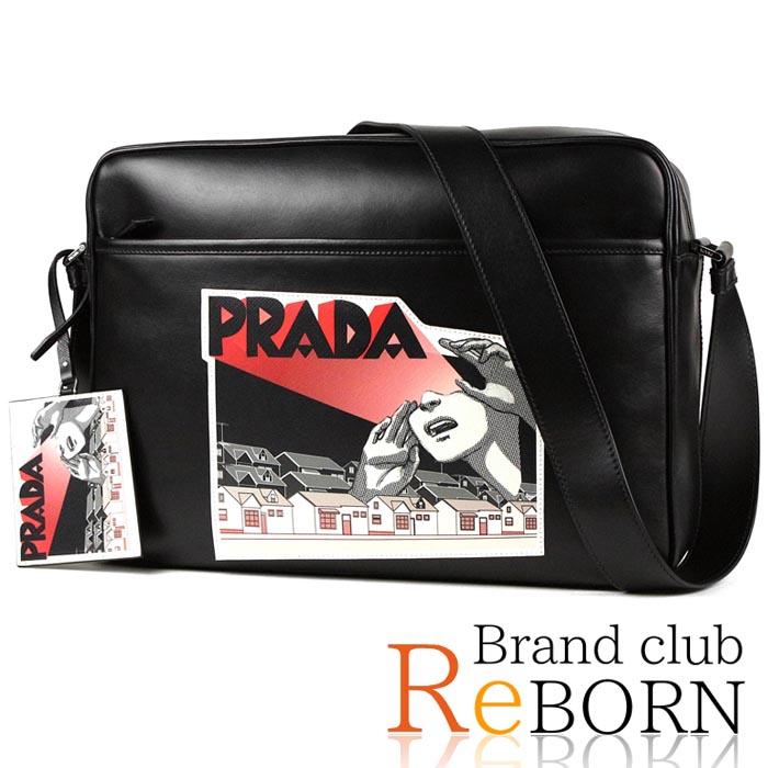 99de680b16f703 Prada /PRADA comics shoulder bag / messenger bag VITELLO PATCH (calf-leather)  ...