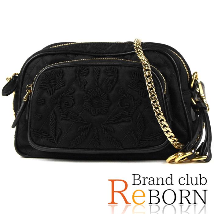 aa9e8e5dbb Prada /PRADA embroidery quilting shoulder pochette / body bag / bum-bag  TESSUTO IMPUNTU ...
