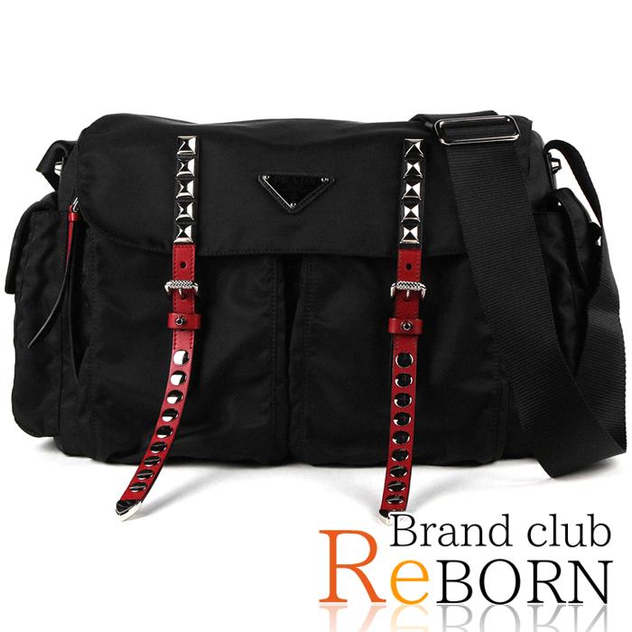 7bf0173553d7bb Brand club ReBORN: Prada /PRADA studs black nylon shoulder bag / messenger  bag NEW VELA (nylon canvas) X studs NERO+FUOCO (black + red) X silver metal  ...