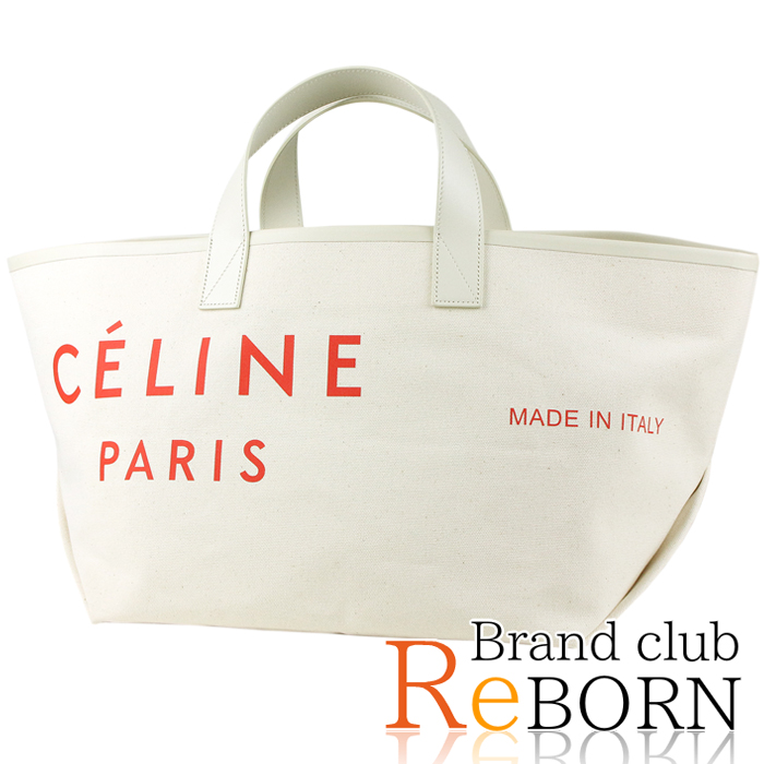 2351a2d20a Brand club ReBORN  Celine  CELINE maid in tote bag Small cotton canvas X  calf-leather natural X red 186082B3D.27NR