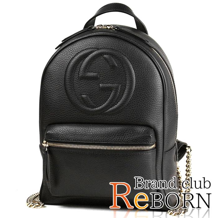 Gucci  GUCCI SOHO (Soho) chain backpack   rucksack interlocking grip G  emboss leather black X gold metal fittings 536192 697f8148fb955