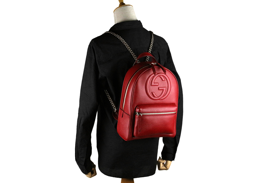 b61509138 ... Gucci /GUCCI SOHO (Soho) chain backpack / rucksack interlocking grip G  emboss leather ...