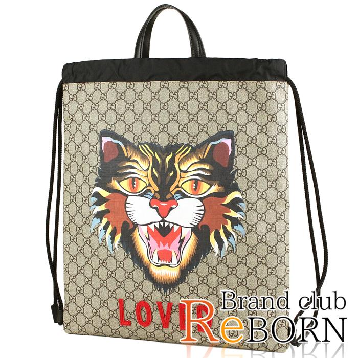 4529b4538 Gucci /GUCCI Ann glee cat draw string backpack / rucksack GG スプリームキャンバス X  calf ...