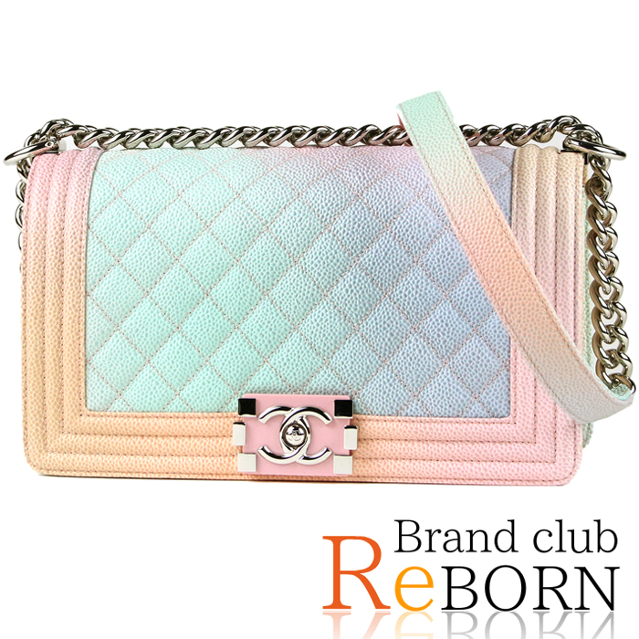 1ecb7718da2c Chanel /CHANEL boy Chanel matelasse rainbow chain shoulder bag caviar skin  rainbow color X pink plate X silver metal fittings A67086 25th stand. Used  - New