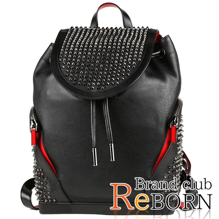 f12195ff3b1 クリスチャンルブタン /Christian Louboutin Explorer funk backpack (rucksack) calfskin  X spikes studs black X red X gunmetal metal fittings ...