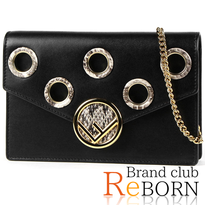 6015ba1458b8 Fendi  FENDI F is Fendi mini-shoulder bag   chain wallet calf-leather X  python black X gold metal fittings 8BS006