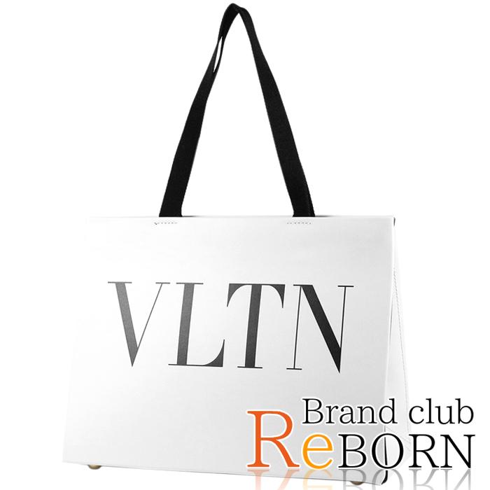 【未使用品】ヴァレンティノ VLTN ロゴ トートバッグ カーフレザー ホワイト×ブラック QW2B0C52RCH【全品鑑定済】【安心保証】