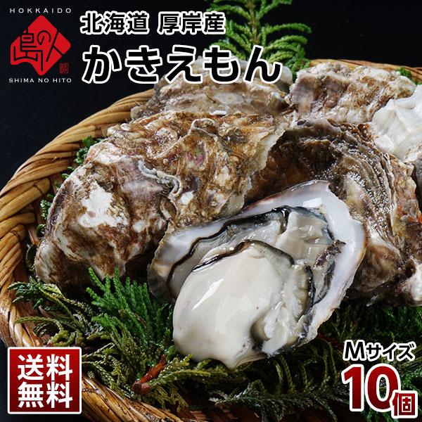 北海道 厚岸産 生牡蠣(カキえもん) 殻付き 10個(Mサイズ)【送料無料】