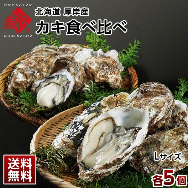 北海道 厚岸産 生牡蠣(カキえもん&まるえもん) 殻付き 10個(各Lサイズ5個) 食べ比べセット【送料無料】