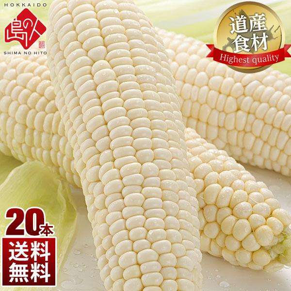 北海道産 とうもろこし ピュアホワイト(Mサイズ)20本 7.0kg ご自宅用(訳あり)