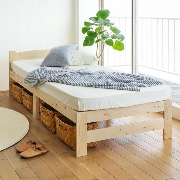 布団 使える すのこ ベッド Aila シングル サイズ 薄型プレミアム ポケットコイル マットレス付き 北欧 ナチュラル パイン材 フィンランド 木製 送料無料 即日出荷可能