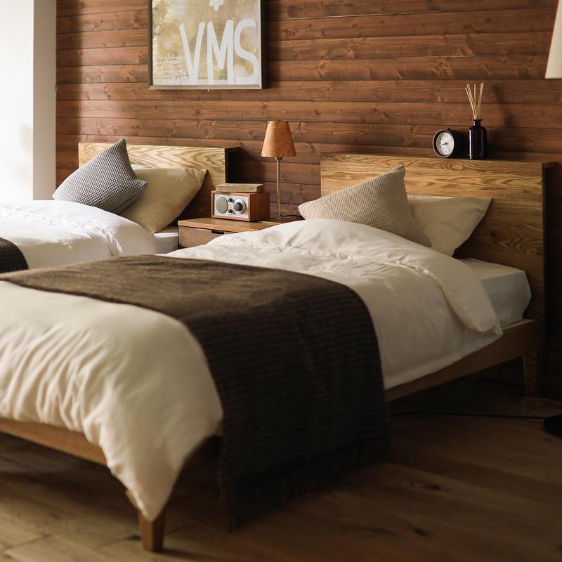 ベッド folk ダブル フレームのみ ベッドフレーム ブラウン 西海岸 モダン 北欧 ヴィンテージ 木製 無垢 送料無料