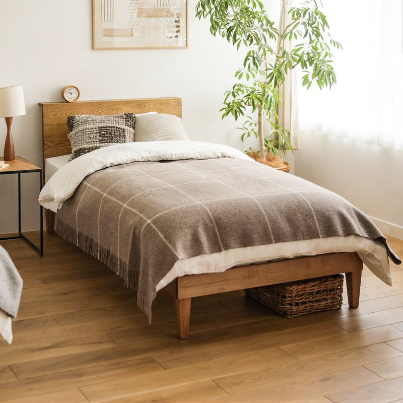 ベッド folk セミダブル ゴールドプレミアム ポケットコイル マットレス付き ブラウン ベッドフレーム 西海岸 モダン 北欧 ヴィンテージ 木製 無垢 送料無料
