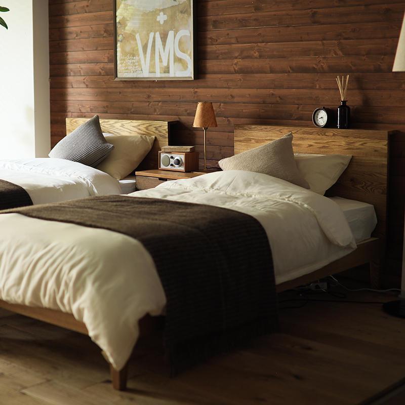 ベッド folk ダブル ナノテックプレミアム ポケットコイル マットレス付き ベッドフレーム ブラウン 西海岸 モダン 北欧 ヴィンテージ 木製 無垢 送料無料