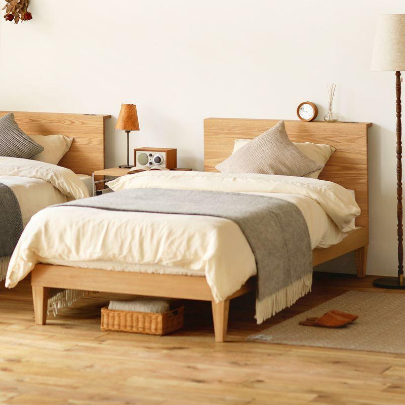 ベッド folk natural ダブル フレームのみ ベッドフレーム ナチュラル 西海岸 モダン 北欧 木製 無垢 送料無料