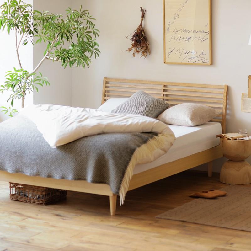 北欧 木製 ベッド NOANA スタンダードタイプ ダブル ゴールドプレミアム ポケットコイル マットレス付き 送料無料