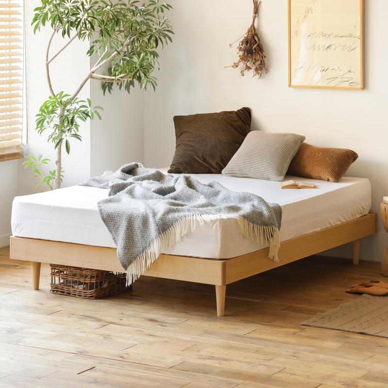 北欧 木製 ベッド NOANA ヘッドレス クイーン ナノテックプレミアム ポケットコイルマットレス+ピロートップ付き 送料無料