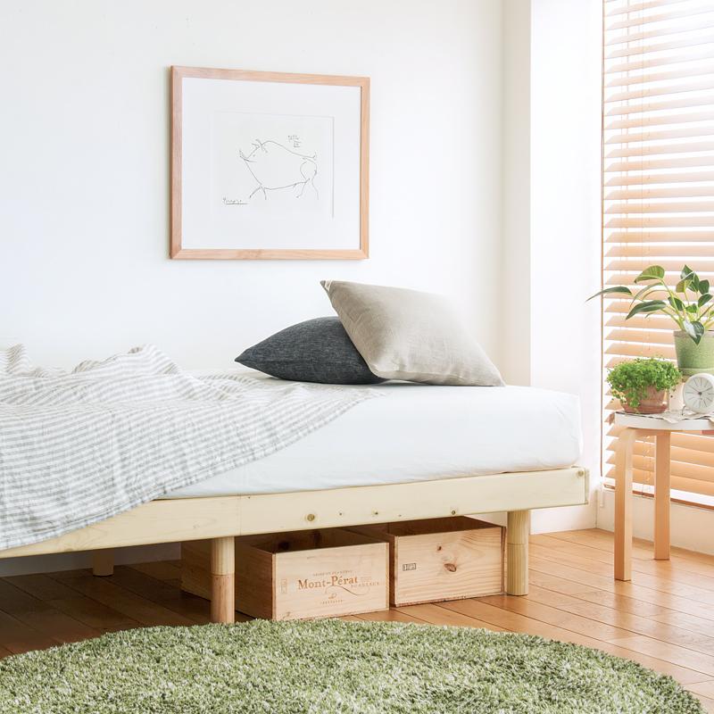 すのこ ベッド NOWLE セミダブル ゴールドプレミアム ポケットコイル マットレス付き 北欧 ナチュラル 木製 布団で使える 高さ3段階 送料無料 即日出荷可能