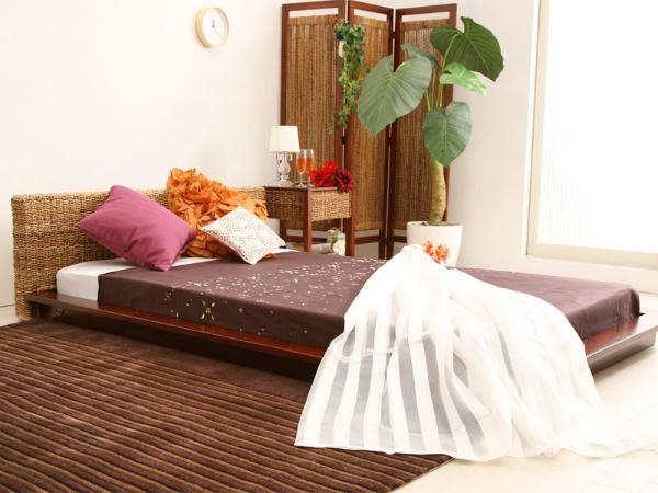アジアン ベッド フロアベッド Glanz セミダブル プレミアム ポケットコイル マットレス付き 送料無料 夜間指定不可