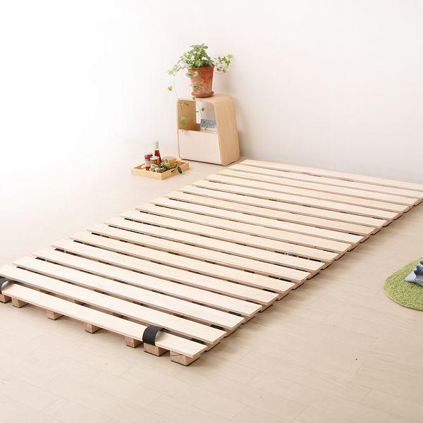 ロール式すのこ ベッド シングル ナノテックプレミアム ポケットコイルマットレス+ピロートップ付き ベッド ベット すのこ 送料無料