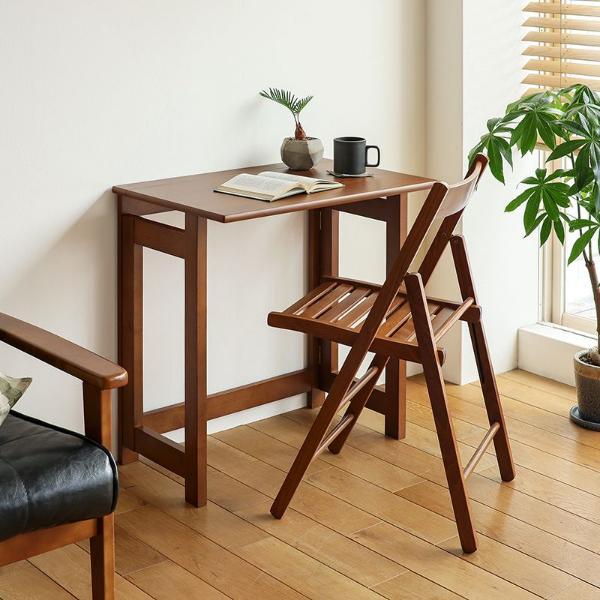折りたたみ式 デスク チェア セット Olaf 木製 北欧 ナチュラル 机 椅子 ダイニング おしゃれ