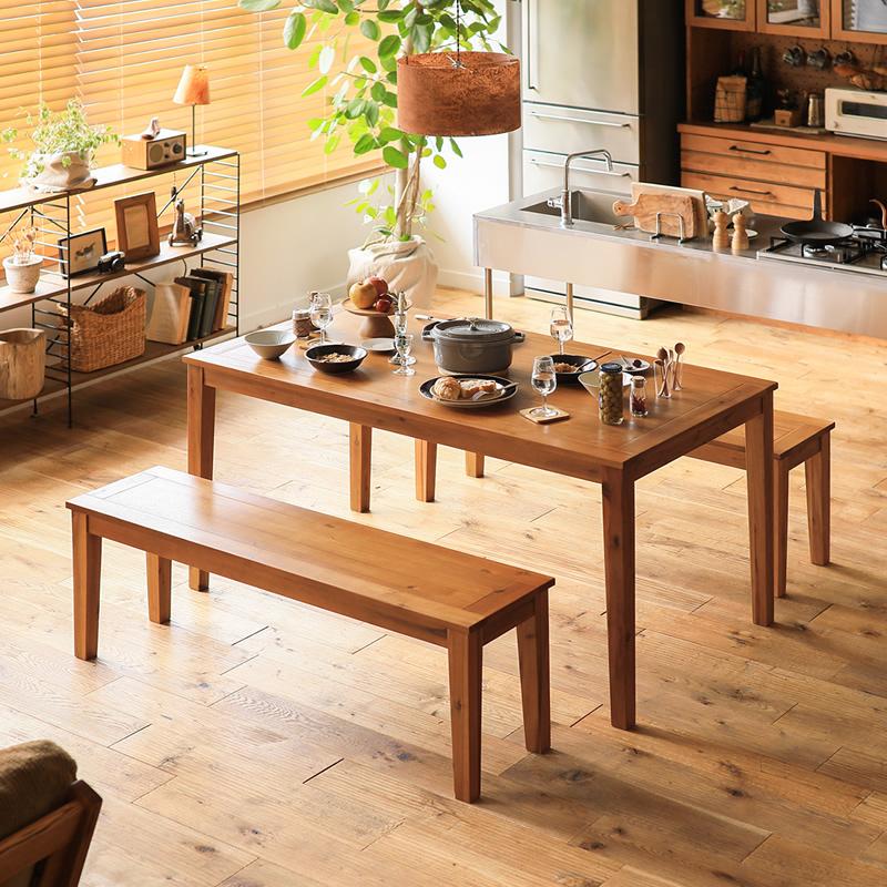 ダイニングセット ダイニングテーブル 3点 Gracia 幅150 テーブル ベンチ 北欧 メンズライク ナチュラル 木製 4人 おしゃれ 送料無料 即日出荷可能