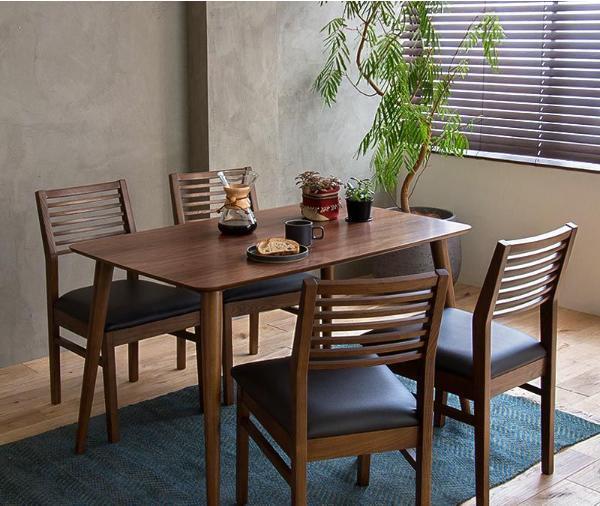 ダイニングテーブル5点セット Tomte 北欧 ヴィンテージ インダストリアル ブラウン 木製 ウォールナット おしゃれ 送料無料 即日出荷可能