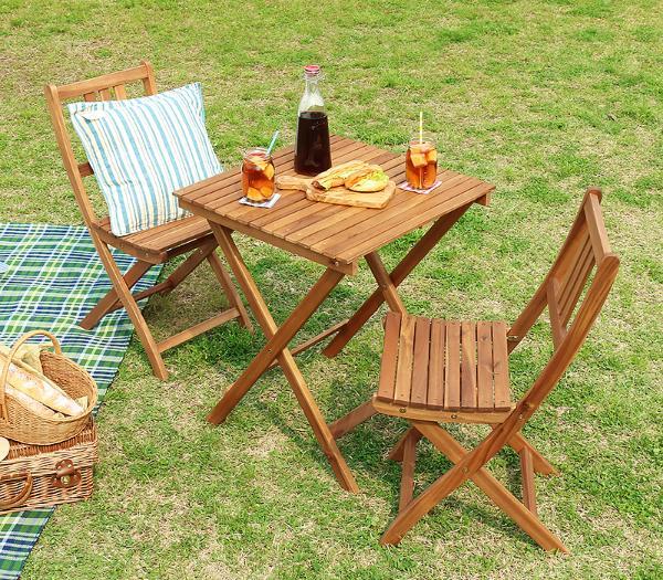 ガーデン テーブル セット 折りたたみ 木製 ガーデン3点セット Byron 屋外 おしゃれ 即日出荷可能