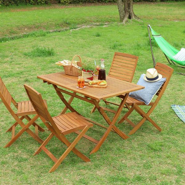 ガーデン テーブル セット 折りたたみ 木製 ガーデン5点セット Nino 屋外 おしゃれ 送料無料 即日出荷可能
