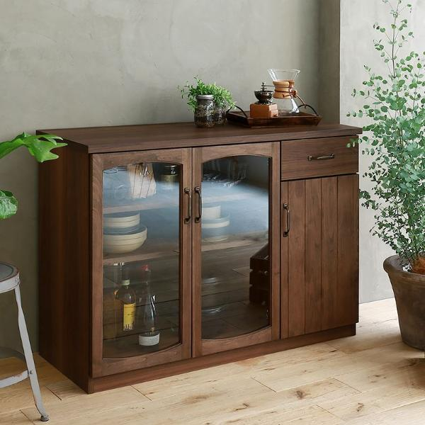 食器棚 MONT 120cm キッチンキャビネット ヴィンテージ インダストリアル 木製 ブラウン 完成品 おしゃれ 送料無料 【開梱・設置付き】