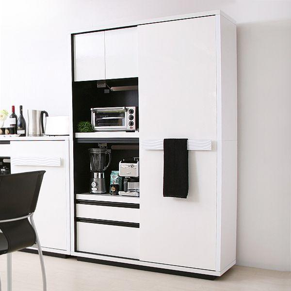 食器棚 SULE 120cm キッチンボード モダン 北欧 ホワイト 白 完成品 カップボード おしゃれ 送料無料 【開梱・設置付き】