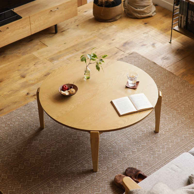 こたつ こたつテーブル センターテーブル EDDIE ナチュラル 直径90 幅90 円形 北欧 ヴィンテージ 木製 オーク おしゃれ 即日出荷可能 送料無料