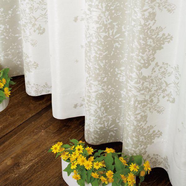 オーダー カーテン Nohara 花柄 シンプル 北欧 白 ホワイト 幅150/300cm×丈205cm~260cm おしゃれ