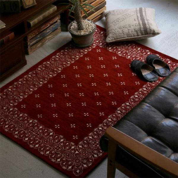 ラグ ラグマット バンダナ Lily Bandanna Rug 200×200 ヴィンテージ 西海岸 レッド 正方形 おしゃれ おすすめ 床暖房 送料無料