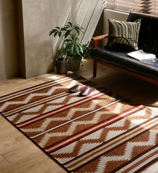 ラグ ラグマット ネイティブ NATIVE RUG BROWN 120×180 ヴィンテージ ブラウン 長方形 おしゃれ おすすめ 床暖房 あす楽対応