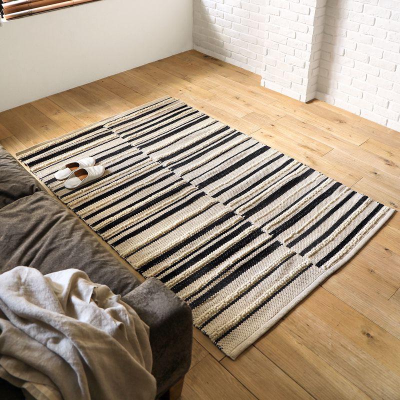 ラグマット ラグ ホットカーペット対応 モリヨシ 絨毯 じゅうたん 130×190 ウール 綿 ストライプ ラジ インド ラグ ラグマット ZEBRE 130×190 長方形 リビング モダン 北欧 ナチュラル 四角形 おしゃれ おすすめ