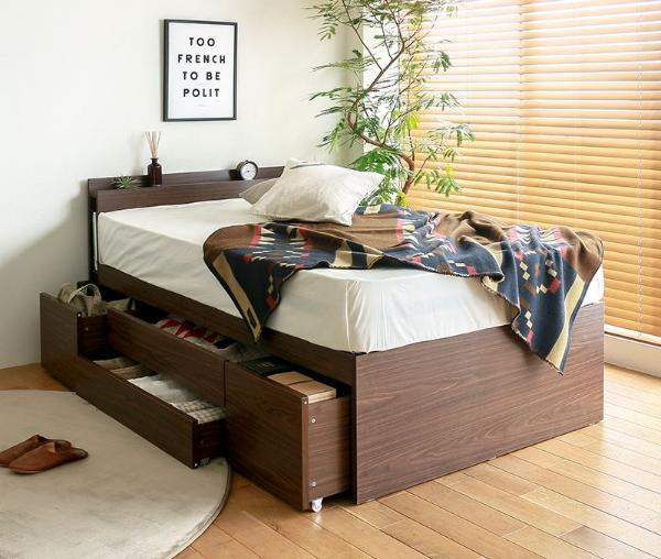収納付きベッド 大容量 チェストベッド Aniesca ダブル サイズ フレームのみ 北欧 ヴィンテージ 木製 送料無料
