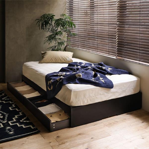 ベッド 収納 収納付き ローベッド Kurt ダブル プレミアム ポケットコイル マットレス付き 送料無料 即日出荷可能