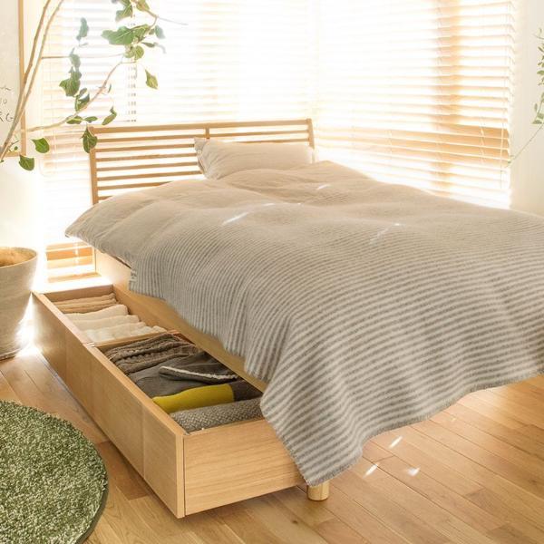 ベッド 北欧 ナチュラル 深型 収納付きベッド NOANA スタンダード タイプ クイーン サイズ フレームのみ 送料無料